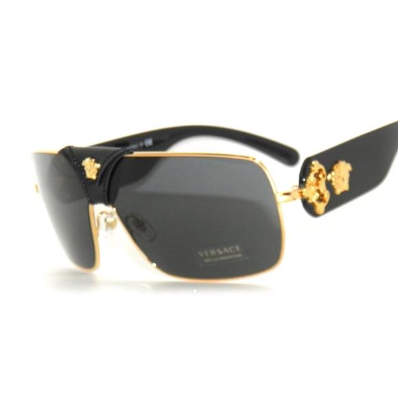 4d411322869 Versace 2207Q 1002 87 Black Gold Sunglasses